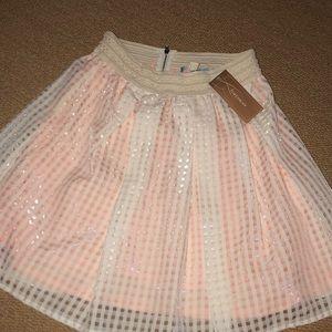 Francesca's Pink and beige skirt